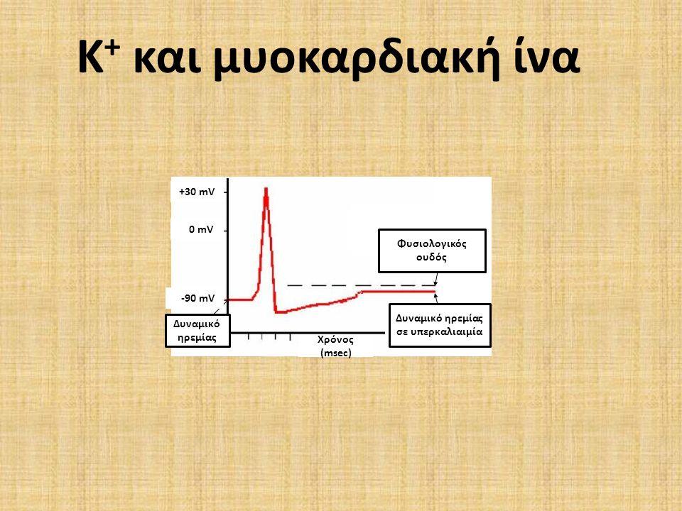 Φυσιολογικός ουδός Δυναμικό ηρεμίας σε υπερκαλιαιμία Δυναμικό ηρεμίας Χρόνος (msec) +30 mV 0 mV -90 mV Κ + και μυοκαρδιακή ίνα