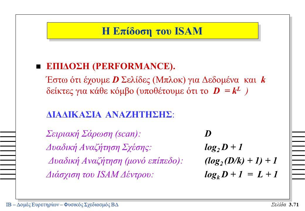 ΙΒ – Δομές Ευρετηρίων – Φυσικός Σχεδιασμός ΒΔΣελίδα 3.71 Η Επίδοση του ISAM n ΕΠΙΔΟΣΗ (PERFORMANCE). Έστω ότι έχουμε D Σελίδες (Μπλοκ) για Δεδομένα κα