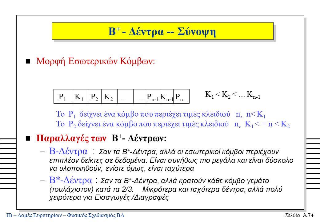 ΙΒ – Δομές Ευρετηρίων – Φυσικός Σχεδιασμός ΒΔΣελίδα 3.74 B + - Δέντρα -- Σύνοψη n Μορφή Εσωτερικών Κόμβων: n Παραλλαγές των B + - Δέντρων: –B-Δέντρα :