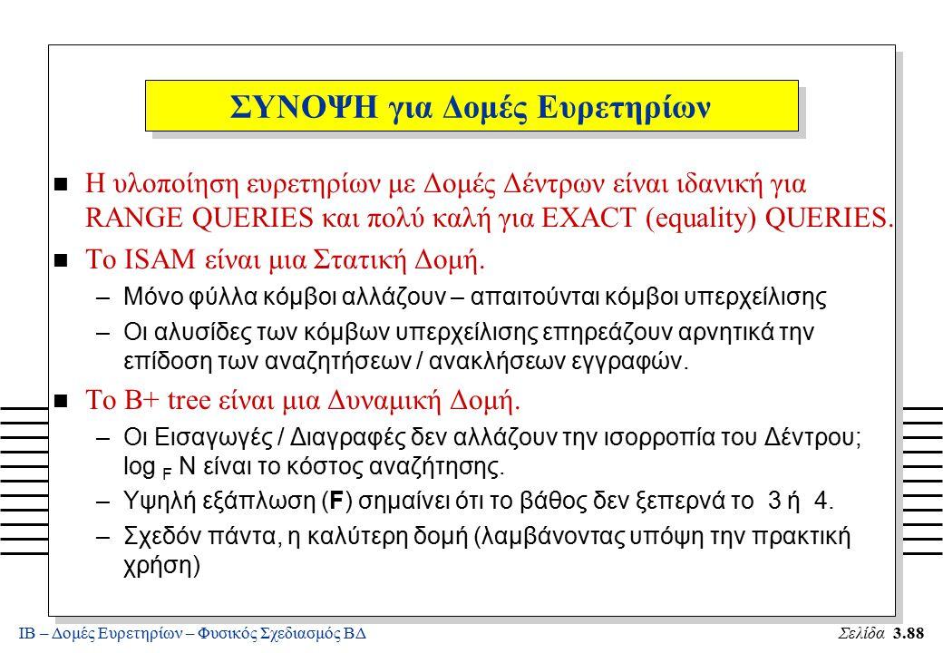 ΙΒ – Δομές Ευρετηρίων – Φυσικός Σχεδιασμός ΒΔΣελίδα 3.88 n Η υλοποίηση ευρετηρίων με Δομές Δέντρων είναι ιδανική για RANGE QUERIES και πολύ καλή για E