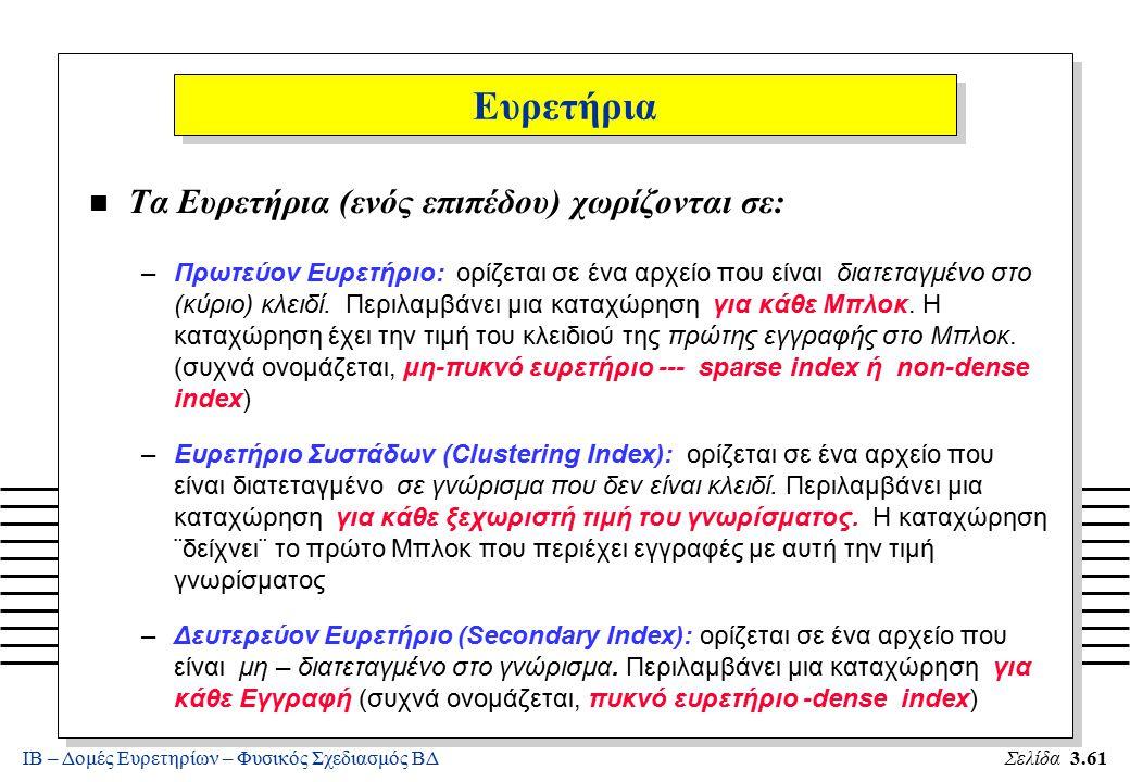 ΙΒ – Δομές Ευρετηρίων – Φυσικός Σχεδιασμός ΒΔΣελίδα 3.61 Ευρετήρια n Τα Ευρετήρια (ενός επιπέδου) χωρίζονται σε: –Πρωτεύον Ευρετήριο: ορίζεται σε ένα