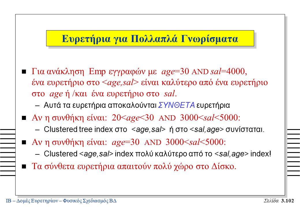 ΙΒ – Δομές Ευρετηρίων – Φυσικός Σχεδιασμός ΒΔΣελίδα 3.102 n Για ανάκληση Emp εγγραφών με age=30 AND sal=4000, ένα ευρετήριο στο είναι καλύτερο από ένα