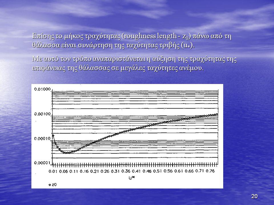 20 Επίσης το μήκος τραχύτητας (roughness length - z 0 ) πάνω από τη θάλασσα είναι συνάρτηση της ταχύτητας τριβής (u * ). Με αυτό τον τρόπο αναπαριστάν