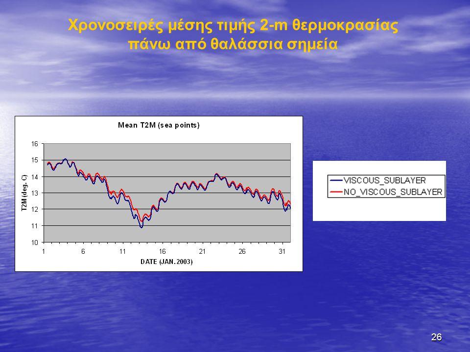 26 Χρονοσειρές μέσης τιμής 2-m θερμοκρασίας πάνω από θαλάσσια σημεία