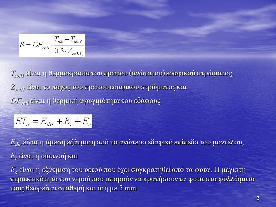 14 Για τον υπολογισμό της τάσης της υπεδάφιας υγρασίας επιλύεται η εξίσωση όπου η διαχυτική ικανότητα (diffusivity), D SMC, και η υδραυλική αγωγιμότητα (conductivity), K SMC, είναι συναρτήσεις του ποσού της υπεδάφιας υγρασίας (SMC - Soil Moisture Content) Η εξίσωση της τάσης της υπεδάφιας θερμοκρασίας είναι όπου DF soil και C v είναι η θερμική αγωγιμότητα και η κατά όγκο θερμική χωρητικότητα του εδάφους, αντίστοιχα, και εξαρτώνται από το εδαφικό νερό SMC