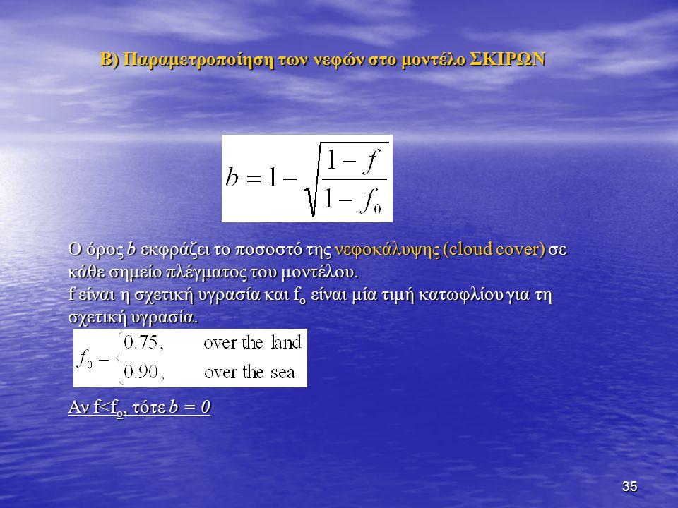 35 Ο όρος b εκφράζει το ποσοστό της νεφοκάλυψης (cloud cover) σε κάθε σημείο πλέγματος του μοντέλου. f είναι η σχετική υγρασία και f o είναι μία τιμή