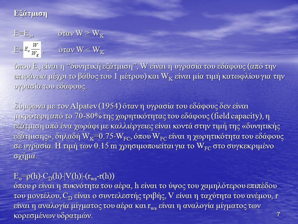 8 Όταν δεν υπάρχει χιονοκάλυψη, ο ρυθμός μεταβολής της υγρασίας του εδάφους και η επιφανειακή απορροή ακολουθούν την εργασία του Budyko (1956):, όταν W < W FC, όταν W < W FC & r f =R A -E o, όταν W = W FC και R A > E o & r f =R A -E o, όταν W = W FC και R A > E o όπου R A είναι ο ρυθμός βροχής και r f είναι η επιφανειακή απορροή.