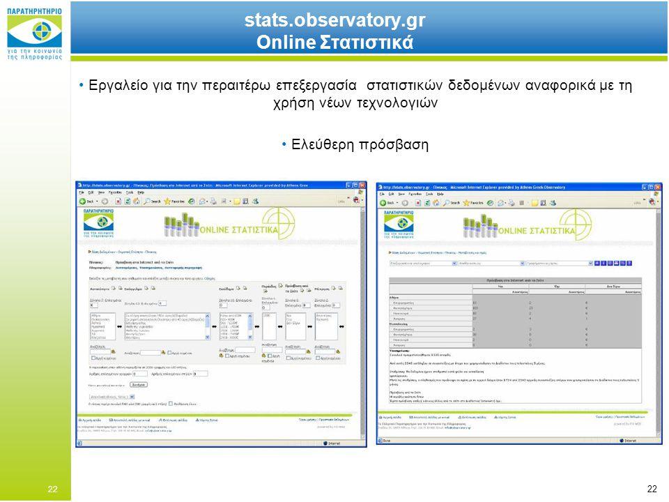 22 stats.observatory.gr Online Στατιστικά Εργαλείο για την περαιτέρω επεξεργασία στατιστικών δεδομένων αναφορικά με τη χρήση νέων τεχνολογιών Ελεύθερη πρόσβαση 22