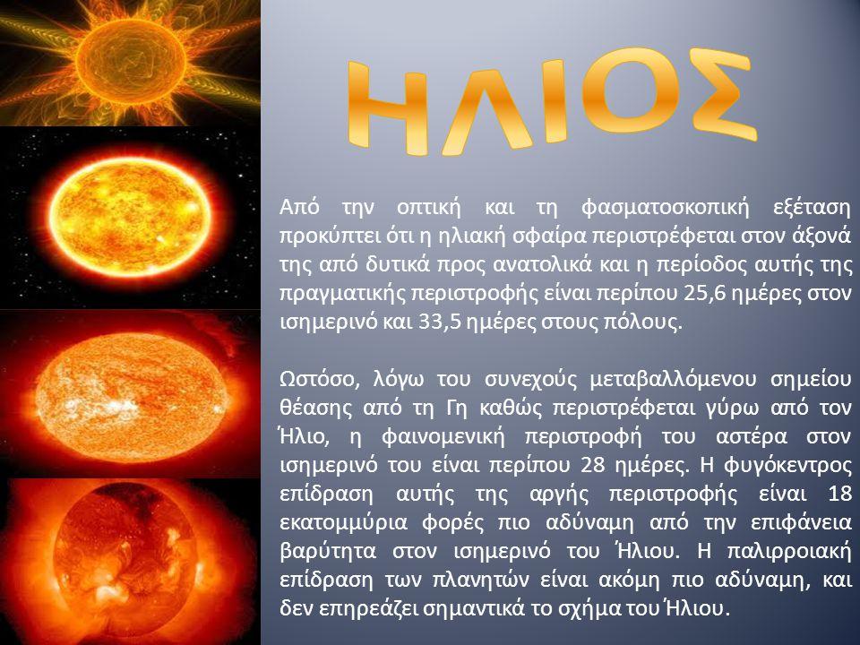 Από την οπτική και τη φασματοσκοπική εξέταση προκύπτει ότι η ηλιακή σφαίρα περιστρέφεται στον άξονά της από δυτικά προς ανατολικά και η περίοδος αυτής της πραγματικής περιστροφής είναι περίπου 25,6 ημέρες στον ισημερινό και 33,5 ημέρες στους πόλους.