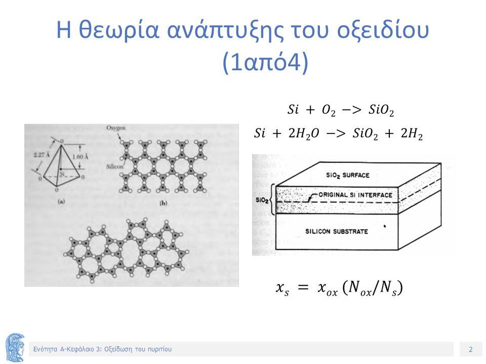 2 Ενότητα Α-Κεφάλαιο 3: Οξείδωση του πυριτίου Η θεωρία ανάπτυξης του οξειδίου (1από4)