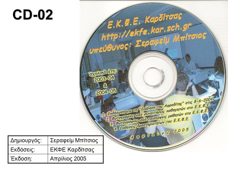 CD-02 Δημιουργός:Σεραφείμ Μπίτσιος Εκδόσεις:ΕΚΦΕ Καρδίτσας Έκδοση:Απρίλιος 2005