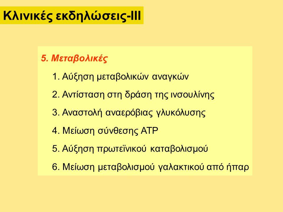 5. Μεταβολικές 1. Αύξηση μεταβολικών αναγκών 2. Αντίσταση στη δράση της ινσουλίνης 3. Αναστολή αναερόβιας γλυκόλυσης 4. Μείωση σύνθεσης ATP 5. Αύξηση