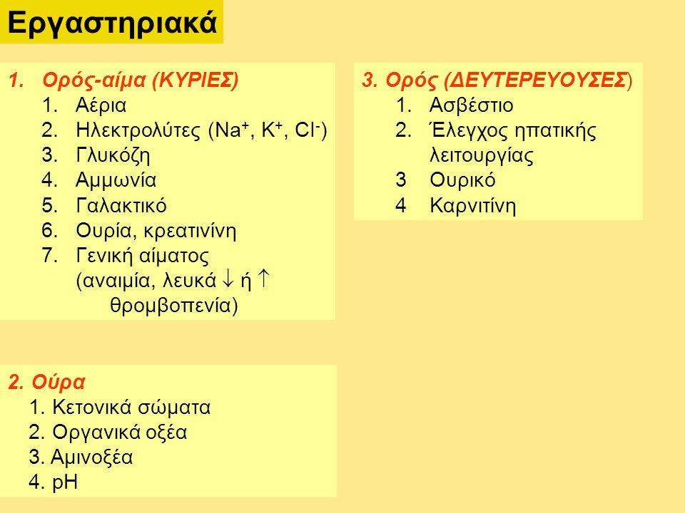 Εργαστηριακά 1.Ορός-αίμα (ΚΥΡΙΕΣ) 1.Αέρια 2.Ηλεκτρολύτες (Na +, K +, CI - ) 3.Γλυκόζη 4.Αμμωνία 5.Γαλακτικό 6.Ουρία, κρεατινίνη 7.Γενική αίματος (αναιμία, λευκά  ή  θρομβοπενία) 3.