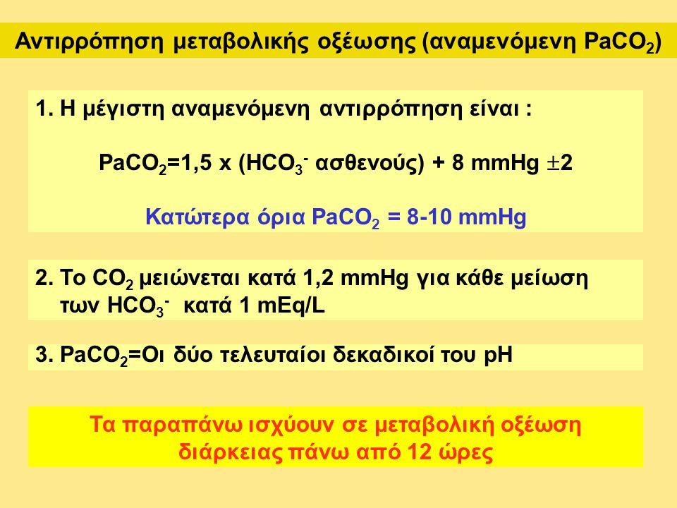 Αντιρρόπηση μεταβολικής οξέωσης (αναμενόμενη PaCO 2 ) 1. Η μέγιστη αναμενόμενη αντιρρόπηση είναι : PaCO 2 =1,5 x (HCO 3 - ασθενούς) + 8 mmHg  2 Κατώτ