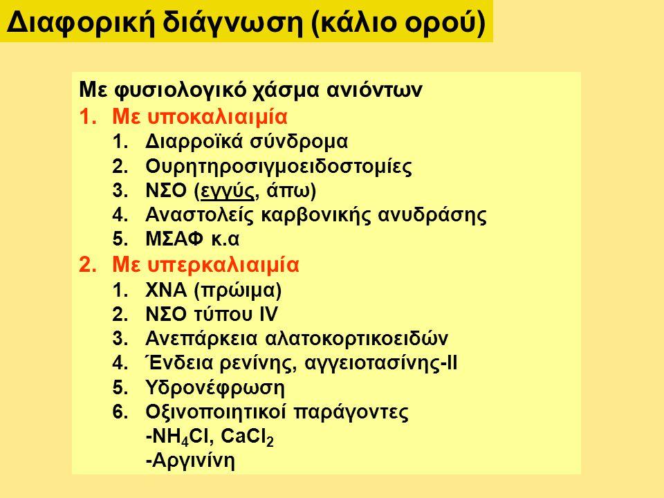 Διαφορική διάγνωση (κάλιο ορού) Με φυσιολογικό χάσμα ανιόντων 1.Με υποκαλιαιμία 1.Διαρροϊκά σύνδρομα 2.Ουρητηροσιγμοειδοστομίες 3.ΝΣΟ (εγγύς, άπω) 4.Αναστολείς καρβονικής ανυδράσης 5.ΜΣΑΦ κ.α 2.Με υπερκαλιαιμία 1.ΧΝΑ (πρώιμα) 2.ΝΣΟ τύπου IV 3.Ανεπάρκεια αλατοκορτικοειδών 4.Ένδεια ρενίνης, αγγειοτασίνης-ΙΙ 5.Υδρονέφρωση 6.Οξινοποιητικοί παράγοντες -NH 4 CI, CaCI 2 -Αργινίνη