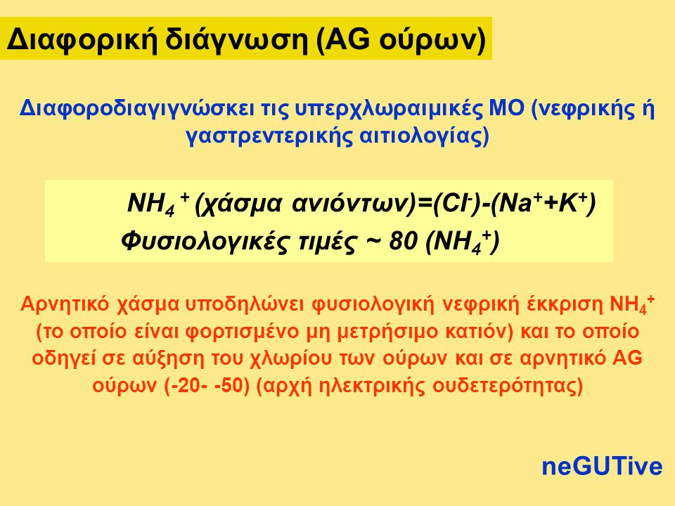 NH 4 + (χάσμα ανιόντων)=(CI - )-(Na + +K + ) Φυσιολογικές τιμές ~ 80 (NH 4 + ) Αρνητικό χάσμα υποδηλώνει φυσιολογική νεφρική έκκριση NH 4 + (το οποίο είναι φορτισμένο μη μετρήσιμο κατιόν) και το οποίο οδηγεί σε αύξηση του χλωρίου των ούρων και σε αρνητικό AG ούρων (-20- -50) (αρχή ηλεκτρικής ουδετερότητας) Διαφοροδιαγιγνώσκει τις υπερχλωραιμικές ΜΟ (νεφρικής ή γαστρεντερικής αιτιολογίας) neGUTive Διαφορική διάγνωση (AG ούρων)