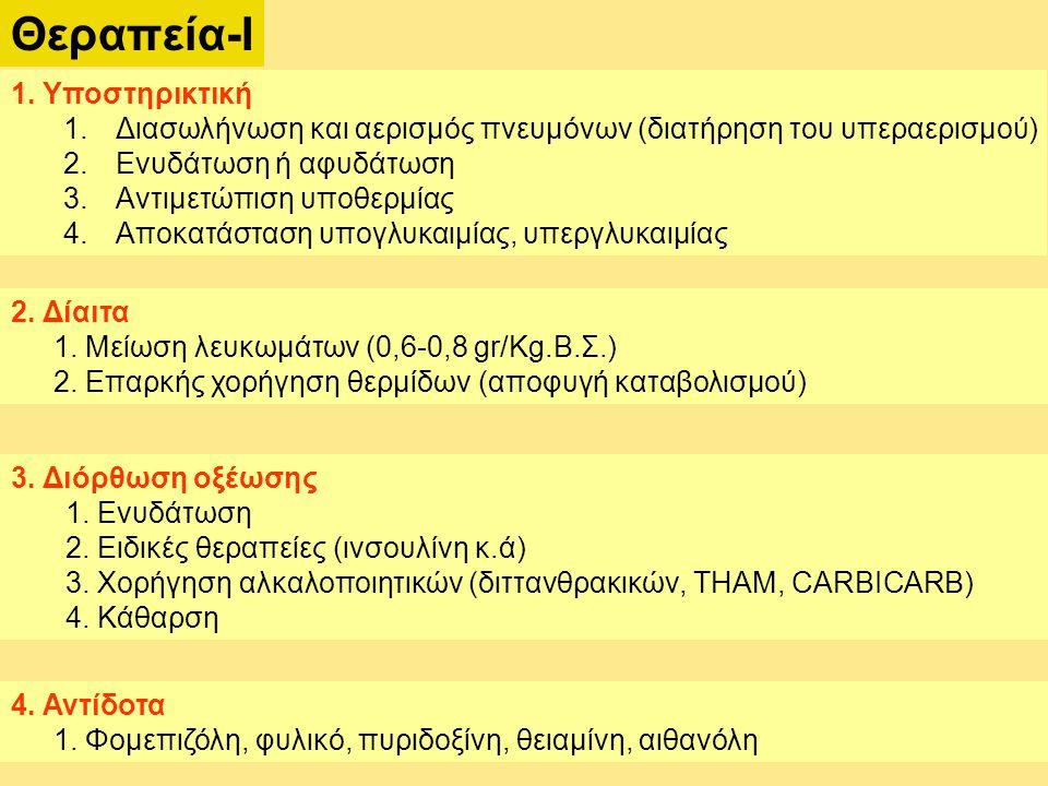 Θεραπεία-Ι 1. Υποστηρικτική 1.Διασωλήνωση και αερισμός πνευμόνων (διατήρηση του υπεραερισμού) 2.Ενυδάτωση ή αφυδάτωση 3.Αντιμετώπιση υποθερμίας 4.Αποκ