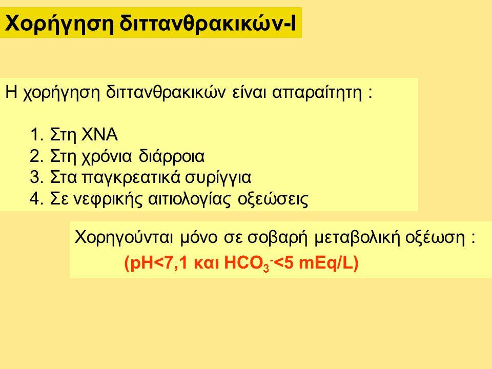 Χορήγηση διττανθρακικών-Ι Η χορήγηση διττανθρακικών είναι απαραίτητη : 1. Στη ΧΝΑ 2. Στη χρόνια διάρροια 3. Στα παγκρεατικά συρίγγια 4. Σε νεφρικής αι