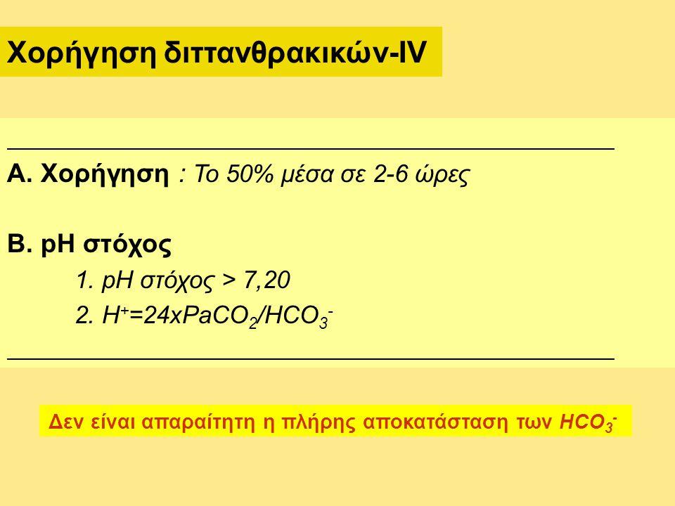 Α. Χορήγηση : Το 50% μέσα σε 2-6 ώρες Β. pH στόχος 1. pH στόχος > 7,20 2. H + =24xPaCO 2 /HCO 3 - Χορήγηση διττανθρακικών-IV Δεν είναι απαραίτητη η πλ