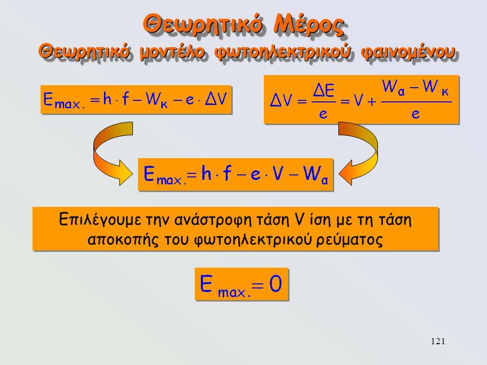 121 Θεωρητικό Μέρος Επιλέγουμε την ανάστροφη τάση V ίση με τη τάση αποκοπής του φωτοηλεκτρικού ρεύματος Θεωρητικό μοντέλο φωτοηλεκτρικού φαινομένου
