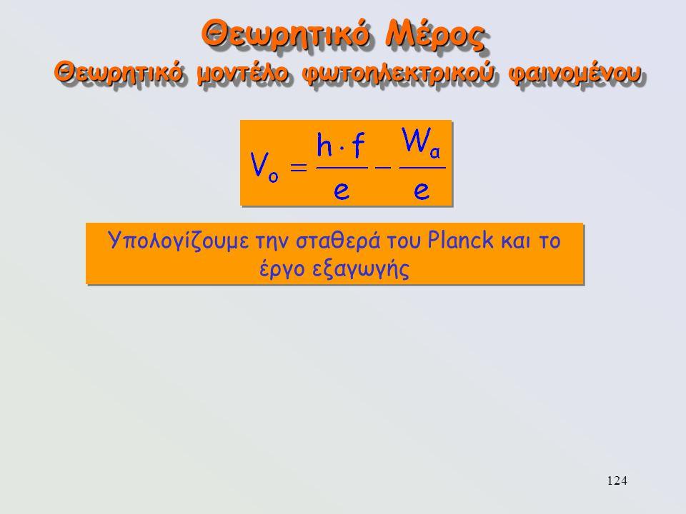 124 Θεωρητικό Μέρος Υπολογίζουμε την σταθερά του Planck και το έργο εξαγωγής Θεωρητικό μοντέλο φωτοηλεκτρικού φαινομένου