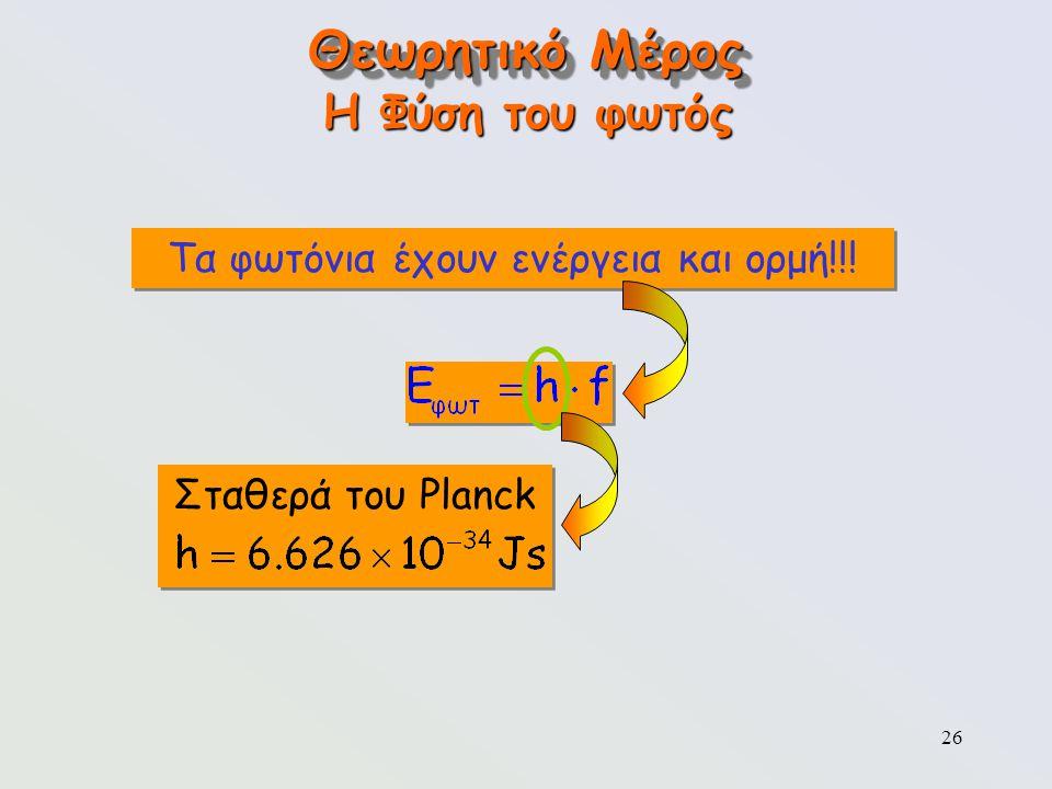 26 Σταθερά του Planck Θεωρητικό Μέρος Η Φύση του φωτός Τα φωτόνια έχουν ενέργεια και ορμή!!!