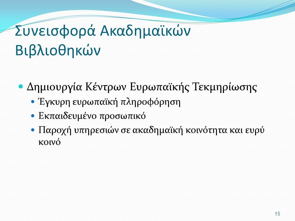 Συνεισφορά Ακαδημαϊκών Βιβλιοθηκών Δημιουργία Κέντρων Ευρωπαϊκής Τεκμηρίωσης Έγκυρη ευρωπαϊκή πληροφόρηση Εκπαιδευμένο προσωπικό Παροχή υπηρεσιών σε α