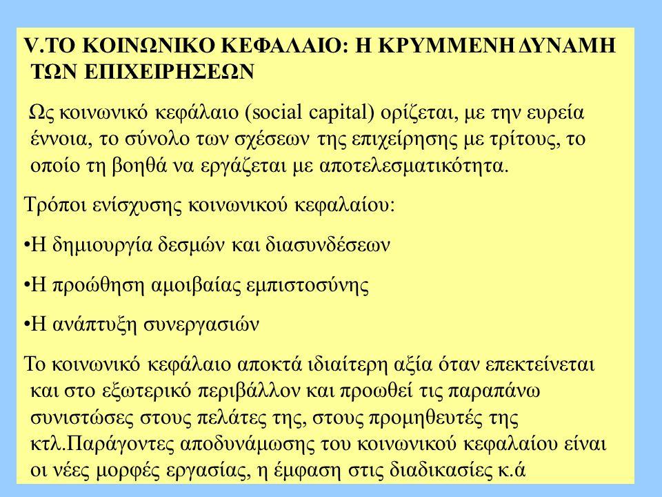 V.ΤΟ ΚΟΙΝΩΝΙΚΟ ΚΕΦΑΛΑΙΟ: Η ΚΡΥΜΜΕΝΗ ΔΥΝΑΜΗ ΤΩΝ ΕΠΙΧΕΙΡΗΣΕΩΝ Ως κοινωνικό κεφάλαιο (social capital) ορίζεται, με την ευρεία έννοια, το σύνολο των σχέσε
