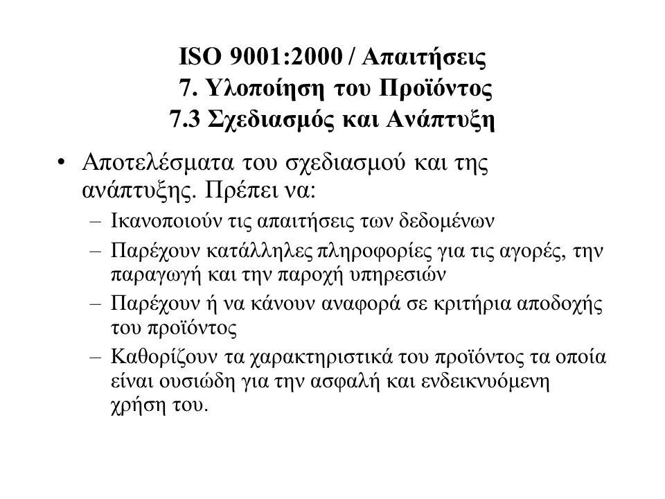 ISO 9001:2000 / Απαιτήσεις 7. Υλοποίηση του Προϊόντος 7.3 Σχεδιασμός και Ανάπτυξη Αποτελέσματα του σχεδιασμού και της ανάπτυξης. Πρέπει να: –Ικανοποιο