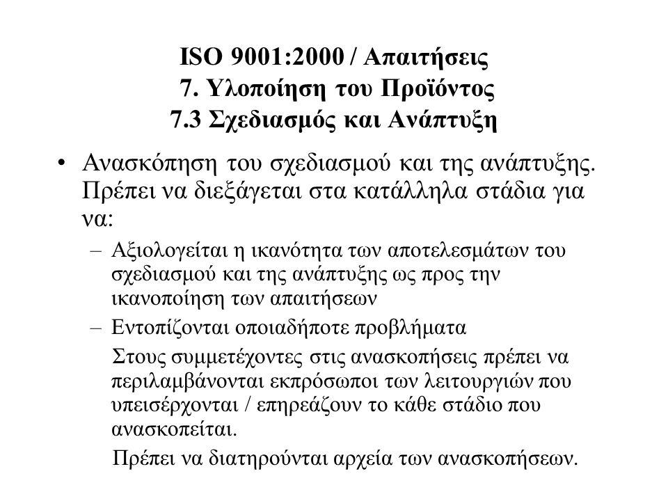 ISO 9001:2000 / Απαιτήσεις 7. Υλοποίηση του Προϊόντος 7.3 Σχεδιασμός και Ανάπτυξη Ανασκόπηση του σχεδιασμού και της ανάπτυξης. Πρέπει να διεξάγεται στ