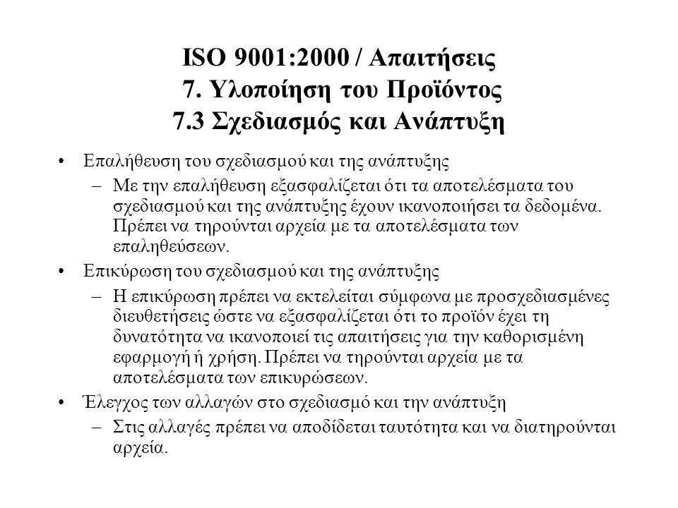 ISO 9001:2000 / Απαιτήσεις 7. Υλοποίηση του Προϊόντος 7.3 Σχεδιασμός και Ανάπτυξη Επαλήθευση του σχεδιασμού και της ανάπτυξης –Με την επαλήθευση εξασφ