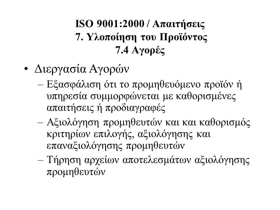 ISO 9001:2000 / Απαιτήσεις 7. Υλοποίηση του Προϊόντος 7.4 Αγορές Διεργασία Αγορών –Εξασφάλιση ότι το προμηθευόμενο προϊόν ή υπηρεσία συμμορφώνεται με