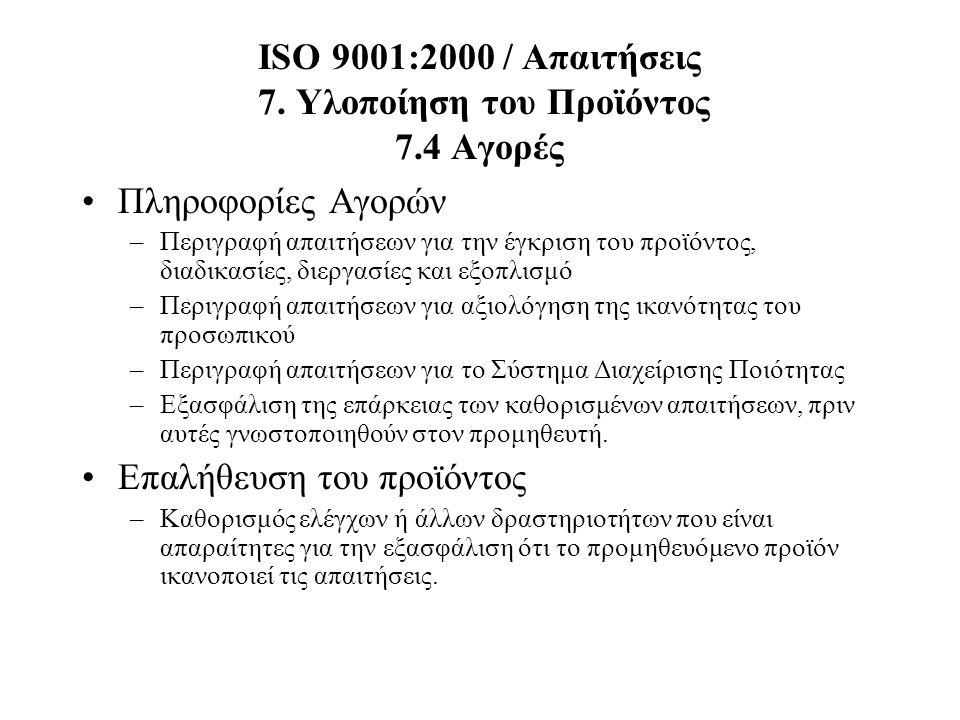 ISO 9001:2000 / Απαιτήσεις 7. Υλοποίηση του Προϊόντος 7.4 Αγορές Πληροφορίες Αγορών –Περιγραφή απαιτήσεων για την έγκριση του προϊόντος, διαδικασίες,