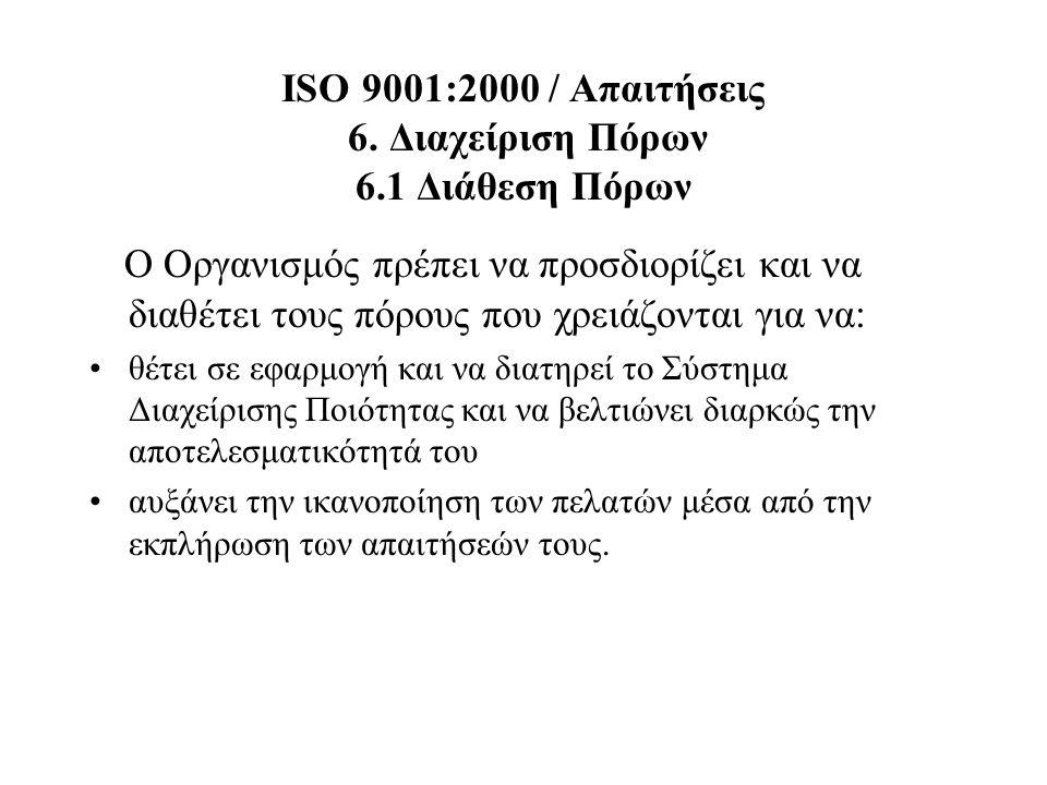 ISO 9001:2000 / Απαιτήσεις 6. Διαχείριση Πόρων 6.1 Διάθεση Πόρων Ο Οργανισμός πρέπει να προσδιορίζει και να διαθέτει τους πόρους που χρειάζονται για ν