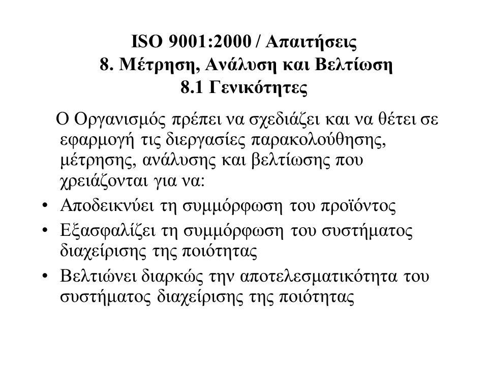ISO 9001:2000 / Απαιτήσεις 8. Μέτρηση, Ανάλυση και Βελτίωση 8.1 Γενικότητες Ο Οργανισμός πρέπει να σχεδιάζει και να θέτει σε εφαρμογή τις διεργασίες π