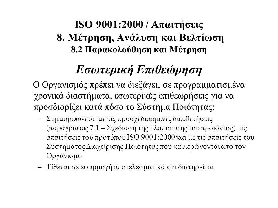 ISO 9001:2000 / Απαιτήσεις 8. Μέτρηση, Ανάλυση και Βελτίωση 8.2 Παρακολούθηση και Μέτρηση Εσωτερική Επιθεώρηση Ο Οργανισμός πρέπει να διεξάγει, σε προ