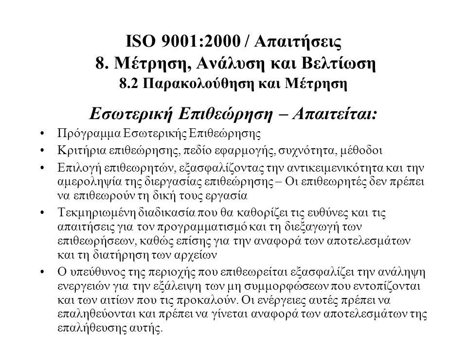 ISO 9001:2000 / Απαιτήσεις 8. Μέτρηση, Ανάλυση και Βελτίωση 8.2 Παρακολούθηση και Μέτρηση Εσωτερική Επιθεώρηση – Απαιτείται: Πρόγραμμα Εσωτερικής Επιθ