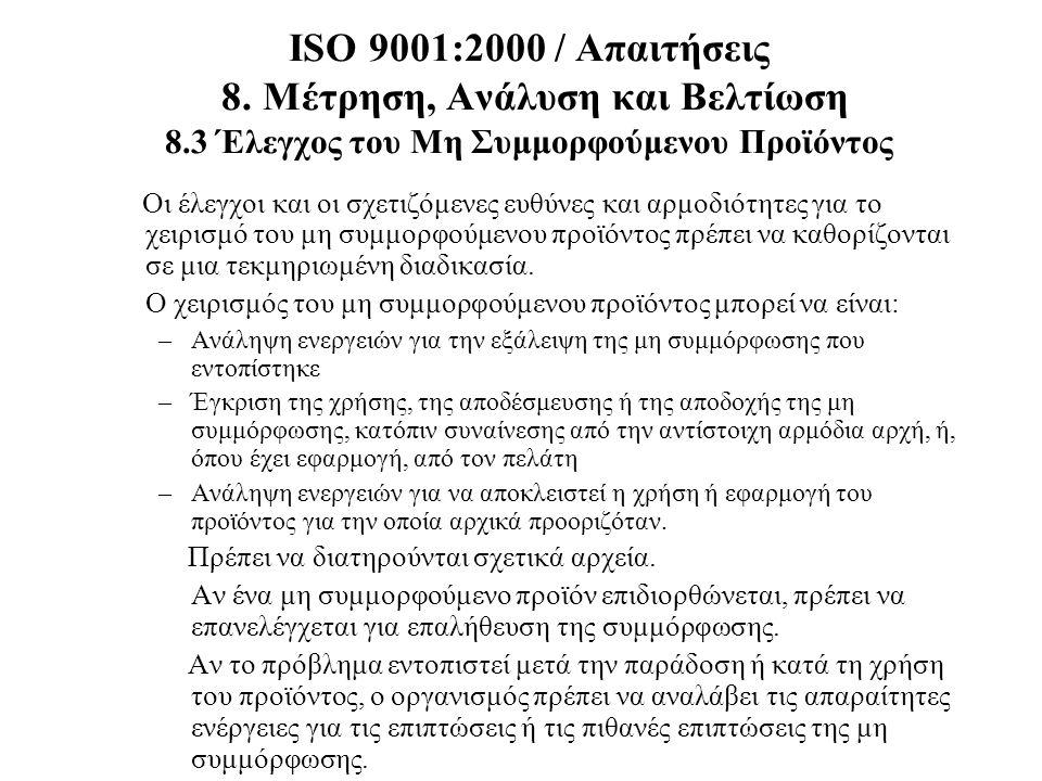 ISO 9001:2000 / Απαιτήσεις 8. Μέτρηση, Ανάλυση και Βελτίωση 8.3 Έλεγχος του Μη Συμμορφούμενου Προϊόντος Οι έλεγχοι και οι σχετιζόμενες ευθύνες και αρμ