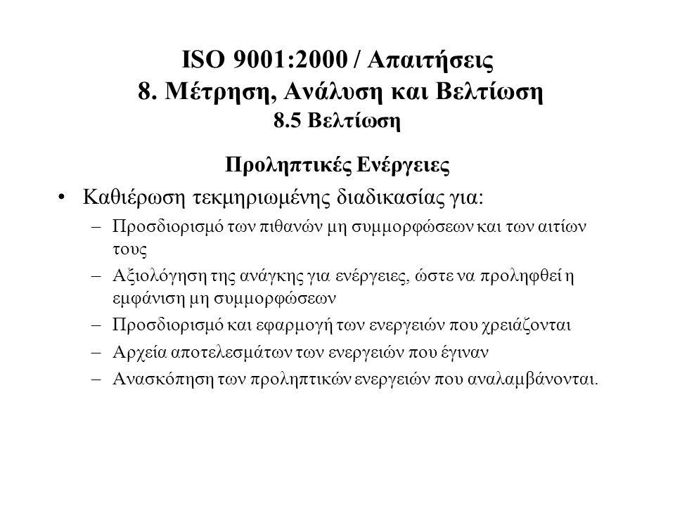 ISO 9001:2000 / Απαιτήσεις 8. Μέτρηση, Ανάλυση και Βελτίωση 8.5 Βελτίωση Προληπτικές Ενέργειες Καθιέρωση τεκμηριωμένης διαδικασίας για: –Προσδιορισμό
