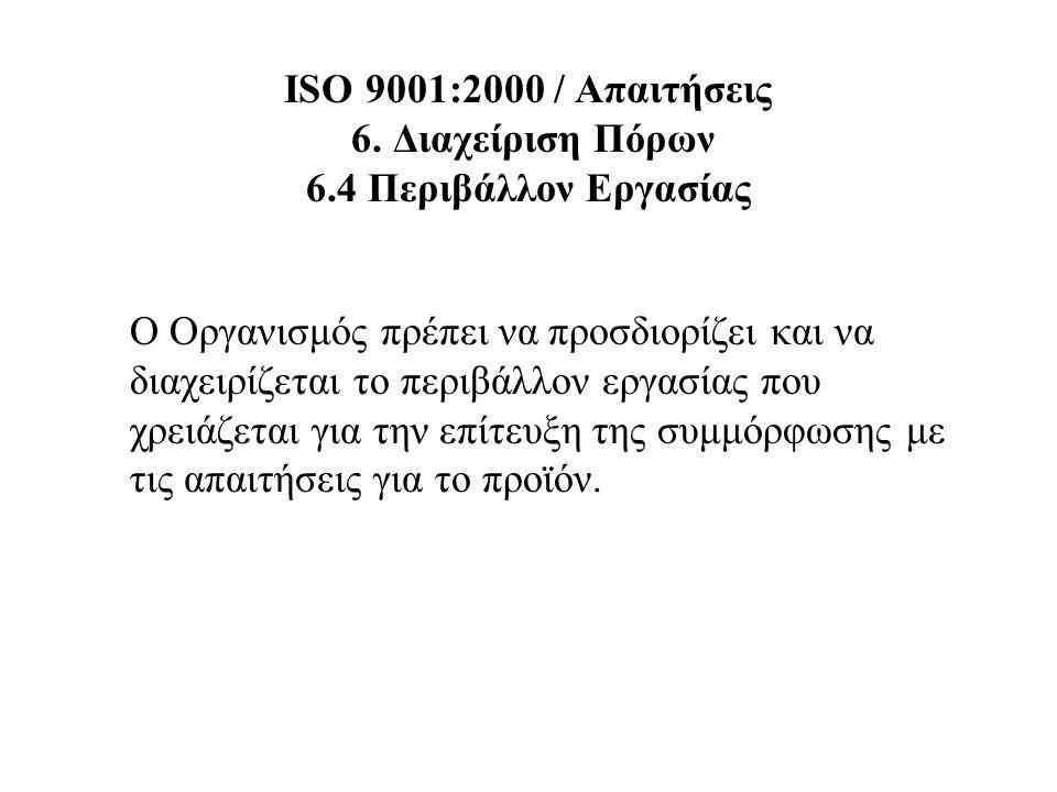 ISO 9001:2000 / Απαιτήσεις 6. Διαχείριση Πόρων 6.4 Περιβάλλον Εργασίας Ο Οργανισμός πρέπει να προσδιορίζει και να διαχειρίζεται το περιβάλλον εργασίας