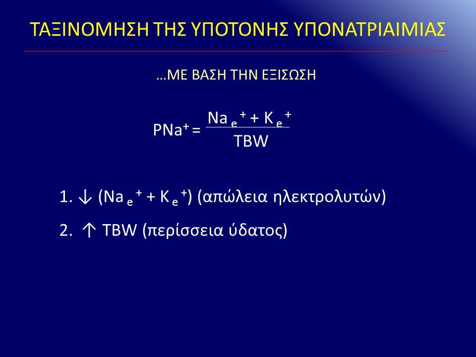 ΤΑΞΙΝΟΜΗΣΗ ΤΗΣ ΥΠΟΤΟΝΗΣ ΥΠΟΝΑΤΡΙΑΙΜΙΑΣ Na e + + K e + TBW PNa + = 1.↓ (Na e + + K e + ) (απώλεια ηλεκτρολυτών) 2. ↑ TBW (περίσσεια ύδατος) …ΜΕ ΒΑΣΗ ΤΗ