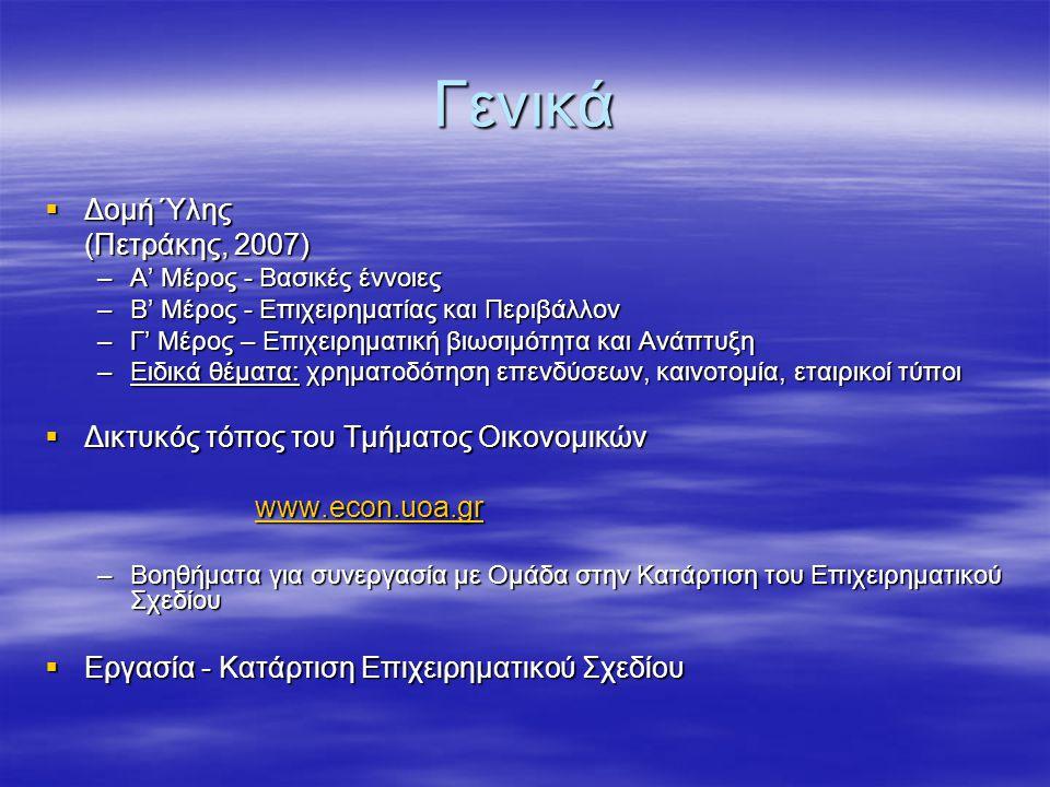 Γενικά  Δομή Ύλης (Πετράκης, 2007) –Α' Μέρος - Βασικές έννοιες –Β' Μέρος - Επιχειρηματίας και Περιβάλλον –Γ' Μέρος – Επιχειρηματική βιωσιμότητα και Ανάπτυξη –Ειδικά θέματα: χρηματοδότηση επενδύσεων, καινοτομία, εταιρικοί τύποι  Δικτυκός τόπος του Τμήματος Οικονομικών www.econ.uoa.gr –Βοηθήματα για συνεργασία με Ομάδα στην Κατάρτιση του Επιχειρηματικού Σχεδίου  Εργασία - Κατάρτιση Επιχειρηματικού Σχεδίου