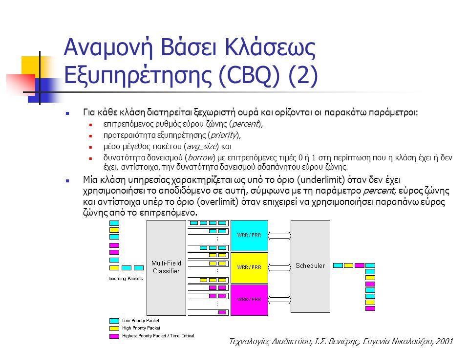 Τεχνολογίες Διαδικτύου, Ι.Σ. Βενιέρης, Ευγενία Νικολούζου, 2001 Για κάθε κλάση διατηρείται ξεχωριστή ουρά και ορίζονται οι παρακάτω παράμετροι: επιτρε