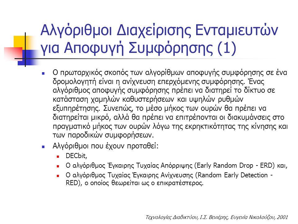 Τεχνολογίες Διαδικτύου, Ι.Σ. Βενιέρης, Ευγενία Νικολούζου, 2001 Αλγόριθμοι Διαχείρισης Ενταμιευτών για Αποφυγή Συμφόρησης (1) Ο πρωταρχικός σκοπός των