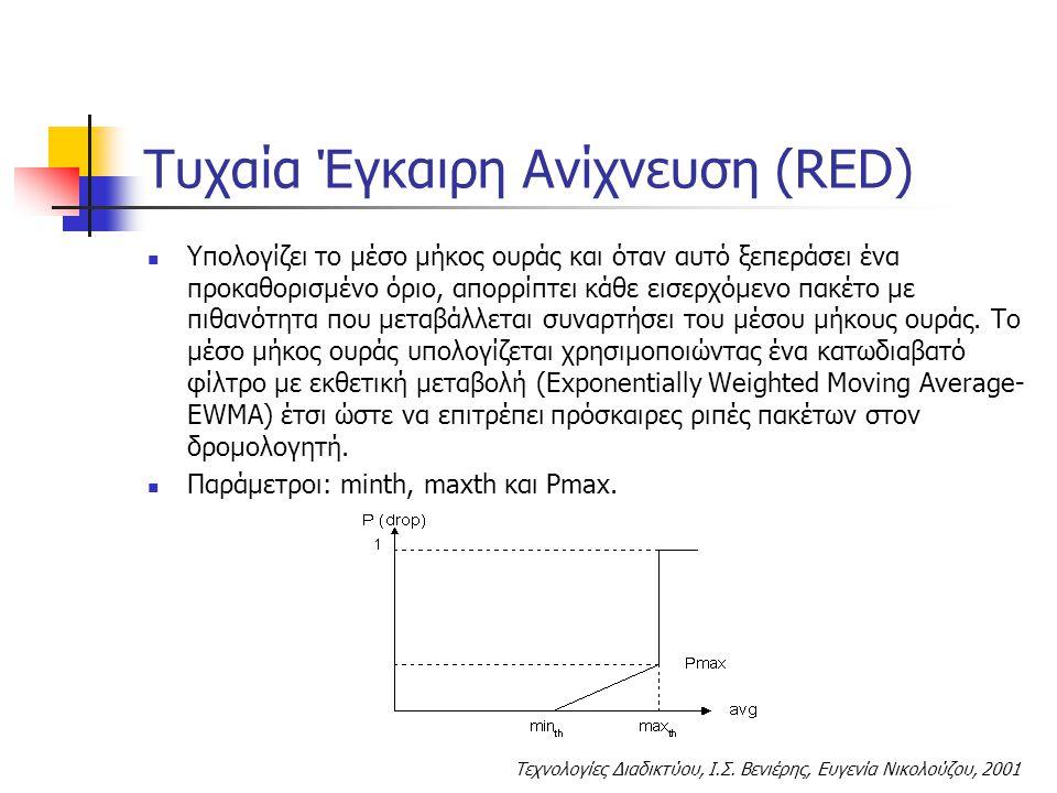 Τεχνολογίες Διαδικτύου, Ι.Σ. Βενιέρης, Ευγενία Νικολούζου, 2001 Τυχαία Έγκαιρη Ανίχνευση (RED) Υπολογίζει το μέσο μήκος ουράς και όταν αυτό ξεπεράσει