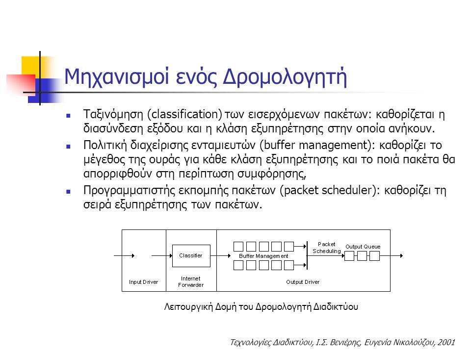 Τεχνολογίες Διαδικτύου, Ι.Σ. Βενιέρης, Ευγενία Νικολούζου, 2001 Μηχανισμοί ενός Δρομολογητή Ταξινόμηση (classification) των εισερχόμενων πακέτων: καθο