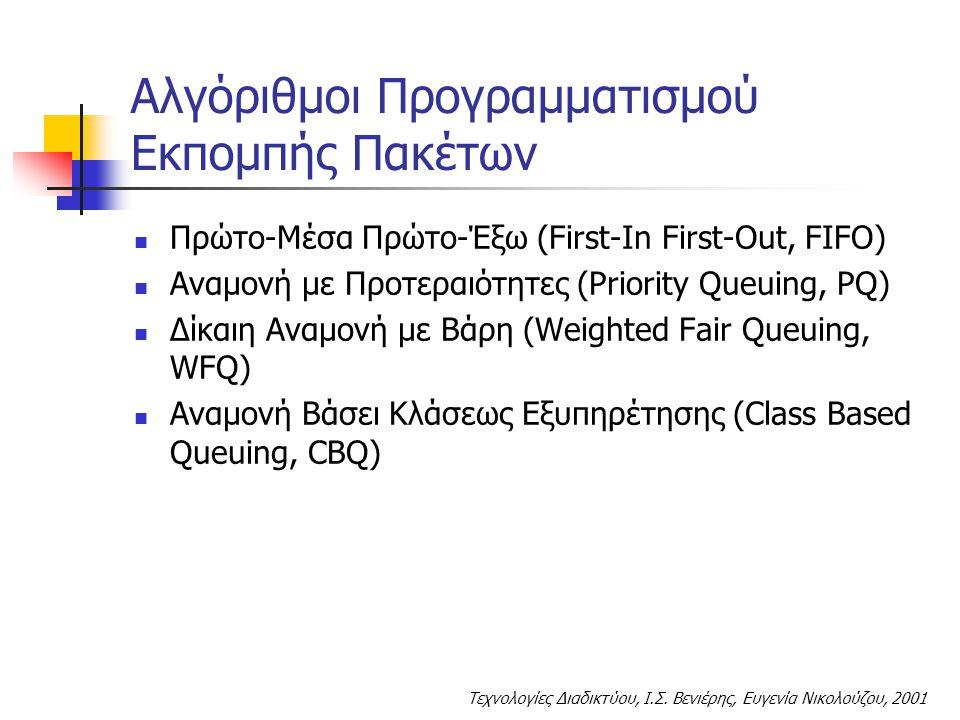 Τεχνολογίες Διαδικτύου, Ι.Σ. Βενιέρης, Ευγενία Νικολούζου, 2001 Αλγόριθμοι Προγραμματισμού Εκπομπής Πακέτων Πρώτο-Μέσα Πρώτο-Έξω (First-In First-Out,
