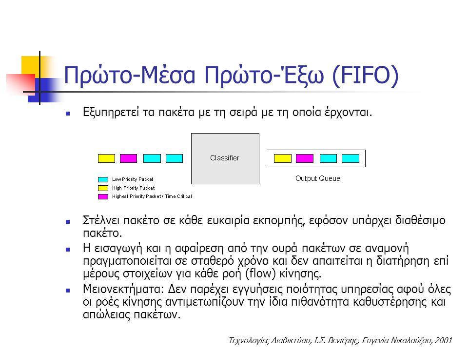 Τεχνολογίες Διαδικτύου, Ι.Σ. Βενιέρης, Ευγενία Νικολούζου, 2001 Πρώτο-Μέσα Πρώτο-Έξω (FIFO) Εξυπηρετεί τα πακέτα με τη σειρά με τη οποία έρχονται. Στέ