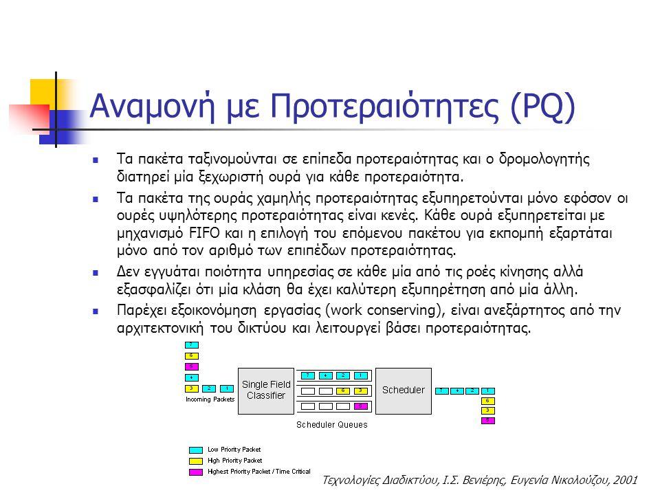 Τεχνολογίες Διαδικτύου, Ι.Σ. Βενιέρης, Ευγενία Νικολούζου, 2001 Αναμονή με Προτεραιότητες (PQ) Τα πακέτα ταξινομούνται σε επίπεδα προτεραιότητας και ο