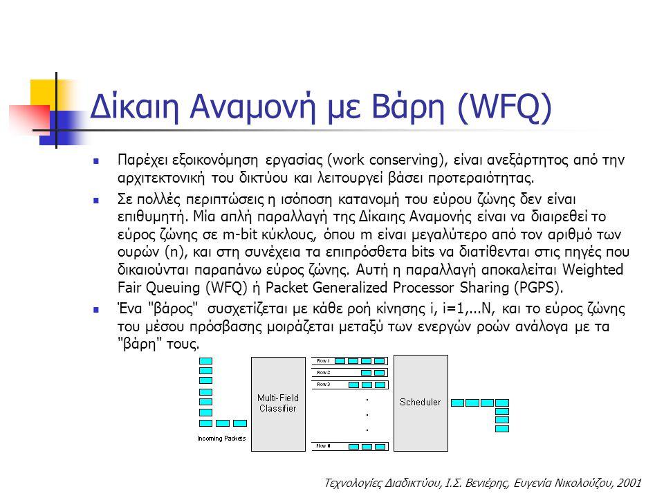 Τεχνολογίες Διαδικτύου, Ι.Σ. Βενιέρης, Ευγενία Νικολούζου, 2001 Δίκαιη Αναμονή με Βάρη (WFQ) Παρέχει εξοικονόμηση εργασίας (work conserving), είναι αν